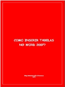Inserir tabela no Word 2007